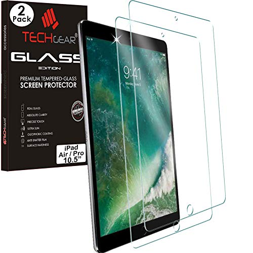 TECHGEAR [2 Pack] GLASS Edition Screen Protector Compatible with Apple iPad Air 3rd Gen (2019), iPad Pro 10.5', Tempered Glass Screen [2.5D Edge] [9H Hardness] [Crystal Clarity] [Scratch-Resistant]