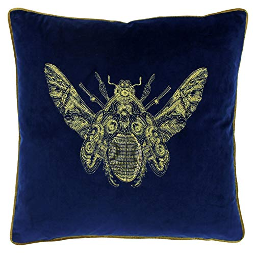 Riva Paoletti Cerana Cushion Cover Royal Blue Super Soft Velvet Fabric Embroidered Bee Design Gold Piped Edges 100% Polyester 50 x 50cm (20' x 20' inches)