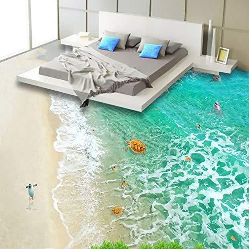 Mddjj Pvc zelfklevende waterdichte 3D-vloertegels behang stickers modern strand golven zeewater landschap 3D vloerbedekking behang rol 200 x 140 cm.