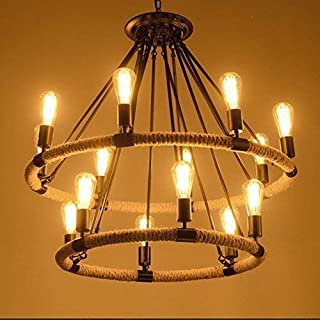 Ceiling Lamp American Village Retro Sisal Candlestick Loft Industrial Wind up Restaurant Coffeeshop Cafes Internet Cafes Art Deco Style 8 + 6 + 3 17 Three Header Headers dqwdsadasfd