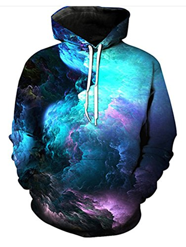UNIFACO Galaxy Hoodie Unisex Funny 3D Printed Drawstring Pullover Hoodies Sweatshirts Pockets Hooded with Velvet Small