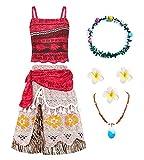 O.AMBW Disfraz de Moana Rojo Cosplay Princesa Vaiana Vestido Hawaiana Conjunto de 2 Piezas Top + Falda Disfraz con Accesorios Diadema Collar Mar y Tierra Traba Flor Regalo de cumpleaños para Niñas