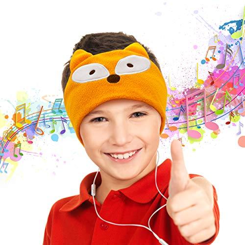 PicassoTiles 85dB Kid Safe Volume Limiting Soft Fleece Headphone Headset Sleep Mask w/Ultra-Thin 1/8' Speakers, Durable Braided Cord, Adjustable Cozy Headband, Build-in Microphone PTM272-FOX
