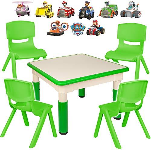 alles-meine.de GmbH Sitzgruppe für Kinder - Tisch + 4 Kinderstühle - Größen & Motiv & Farbwahl - Paw Patrol - Hunde / grün - höhenverstellbar - 1 bis 8 Jahre - Plastik - für INNE..