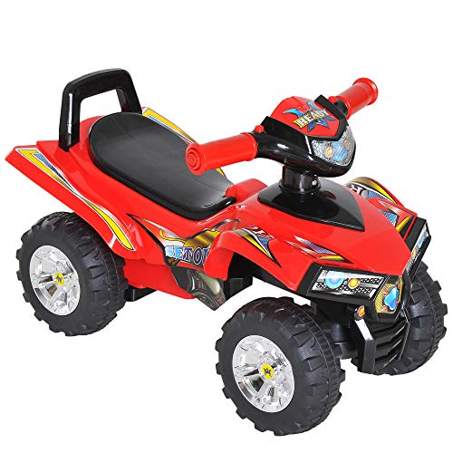 HOMCOM Kids Children Ride-on Toy Off Road Style Quad Bike Racing Car NO POWER 4 Wheels Horn Music Red