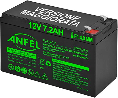 Batteria Lead Acid AGM 12V 7.2Ah al Piombo Ricaricabile Ciclica Pila Batteria Ermetica Batterie di Ricambio per ups Antifurto Prodotti Medici Bambini Moto Bambini Auto
