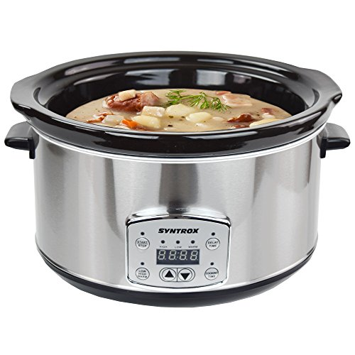 Syntrox Germany SC-450D Digitaler Edelstahl Timer und Warmhaltefunktion Slow Cooker, Keramik, 4.5 liters