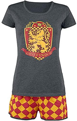 Harry Potter Gryffondor Quidditch Femme Pyjama Gris/Rouge/Jaune M, 65% Coton, 35% Polyester,