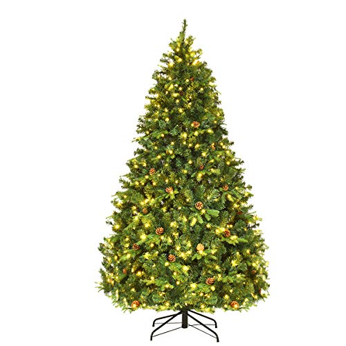 Goplus 7ft Pre-Lit Artificial Christmas Tree, Premium Spruce Hinged Tree with 460 LED Lights and Pine Cones, Xmas Tree for Holiday Indoor Decor