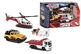 Majorette - Creatix Set de rescate de montaña con diorama, incluye helicóptero 13 cm, dos vehículos y animales- compatible con otros sets Creatix (Majorette 2058593)