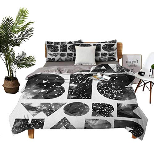 LANQIAO Extra Large Duvet Cover Dream Big Work Hard Typography Design with Galaxy Outer Space Modern Quote,Gift to Teenagers 104x89 inch