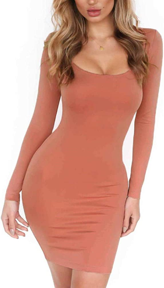 HIOINIEIY Women's Boat Neck Long Sleeve Party Stretchy Fitted Bodycon Club Dress