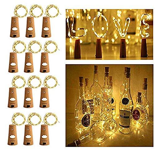 Botellas de vino con luces de corcho, luces de corcho para botella, 20 luces LED alimentadas por pilas, para fiestas, Halloween(12 paquetes) …