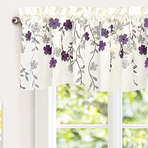 """DriftAway Isabella Faux Silk Embroidered Kitchen Swag Valance, Embroidered Crafted Flower, Single, 60""""x18""""+1.5"""" Header(Ivory/Purple)"""