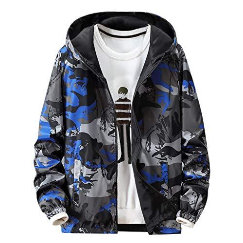 KPILP Herren Slim Winterjacke Windbreaker Freizeitjacke Kapuzenjacke Streetwear Jacken Sweatshirt Outdoor Sport Jacke Wärmjacke Tarnung Drucken Mantel für Männer