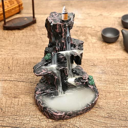 Lshbwsoif Quemador de incienso de cerámica con forma de cascada de montaña, humo, reflujo de incienso, para oficina y yoga