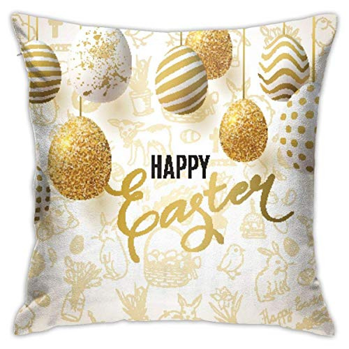 Happy Easter Background Decorative Throw Pillow Cover Square Cushion Case for Home Sofa Bedroom Car Chair House Party Indoor Outdoor 18 X 18 Inch 45 X 45 cm