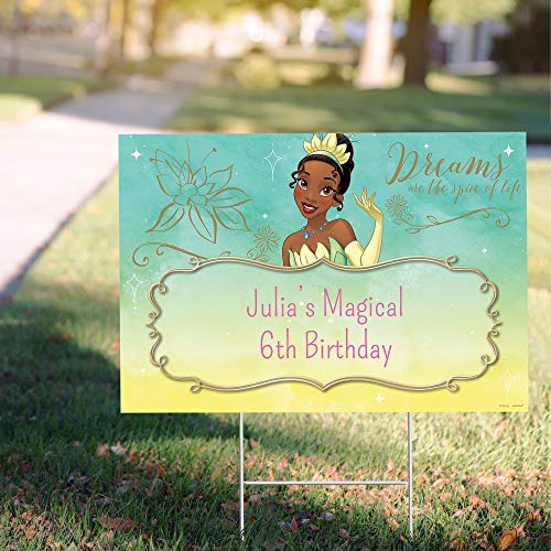 """Party City Custom Princess and The Frog Tiana Yard Sign, Personalized Birthday Party Supplies, Decorations, 22"""" x 15"""""""