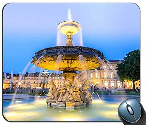 Deutschland Stadt Nacht Brunnen Lichter Wasser personalisierte Rechteck Maus Pad Maus Matte