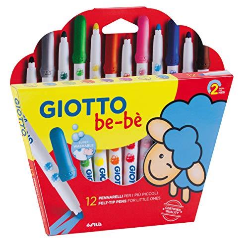 GIOTTO be-bè F469900: Fasermaler - 12 Stück im Set - Bunte Filzstifte für Kinder - ungiftig & wasserlöslich - Zum Malen für Kleinkinder geeignet