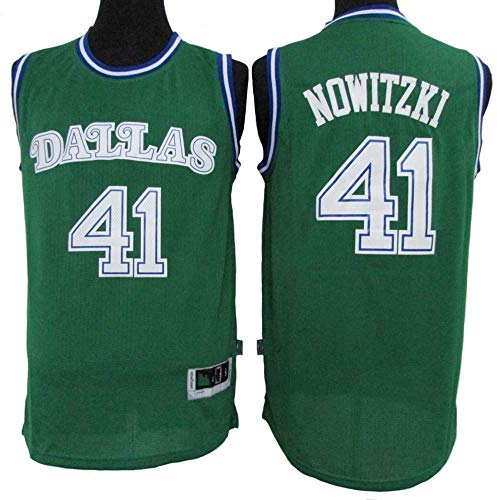 Wo nice Uniformes De Baloncesto De Los Hombres, Dallas Mavericks # 41 Dirk Nowitzki NBA Retro Malla Camisetas Transpirables Casual Chaleco Tops Camisetas Sin Mangas,Verde,XXL(185~190CM)