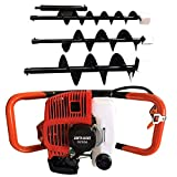 2-Stroke 52cc Earth Auger Digger Gas Powered Post Hole Digger with 3 Drills Bits 4' 6' 8' Extension Pole Petrol Set Into The Ground Fence Posts Poles Trees Shrubs