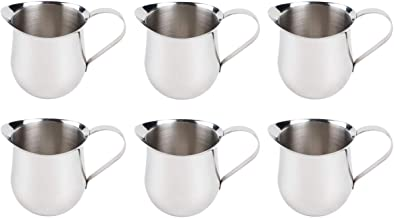 (6 Pack) 3-Ounce Stainless Steel Bell Creamer, 90 ml. Coffee Creamer Pitcher/Bell-Shaped Serving Cream Pitcher, Commercial Quality Bell Pitchers by Tezzorio