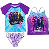 Disney Descendants Mal Uma Evie Audrey Little Girls Rash Guard Tankini Swimsuit Set 6X Blue/Purple