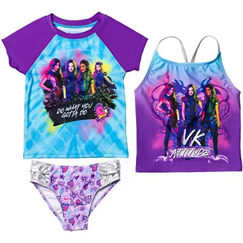 Disney Descendants Mal Uma Evie Audrey Little Girls Rash Guard Tankini Swimsuit Set 6X Blue/Purple