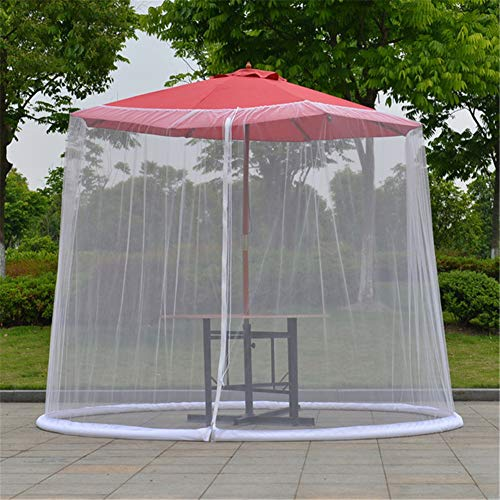 YFGlgy Patio Umbrella Cover Mosquito Netting Screen with Zipper Opening, Helps Protect from Mosquitoes, Fits 9FT Umbrellas and Patio Tables,White,118.27x90.55in