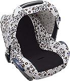 Dooky Seat Cover 0+ Little Leopard Cubierta para el Asiento de Coche del bebé (para Sistema de cinturón de 3 y 5 Puntos, Grupo de Edad 0+, Adecuado para la mayoría de Las Marcas), Blanco