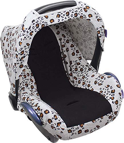 Dooky Seat Cover 0+ Little Leopard Housse de siège Auto (pour système de Ceinture 3 et 5 Points, pour la Tranche d'âge 0+, Convient à la Plupart des Marques), Blanc / Jaune / Noir 85 x 60 cm