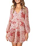 SOLERSUN V Neck Cocktail Dress, Women's Wrap V Neck Long Sleeve Floral Print Slim Fit Vintage Mini Skater Dress Pink M