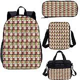 Abstracto 15 'Kids School Bookbags Set,Modern Folk Simbólico 4 en 1 conjuntos de mochila