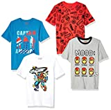 Spotted Zebra Boys' Kids Disney Star Wars Short-Sleeve T-Shirts, 4-Pack Marvel Heroes, Small