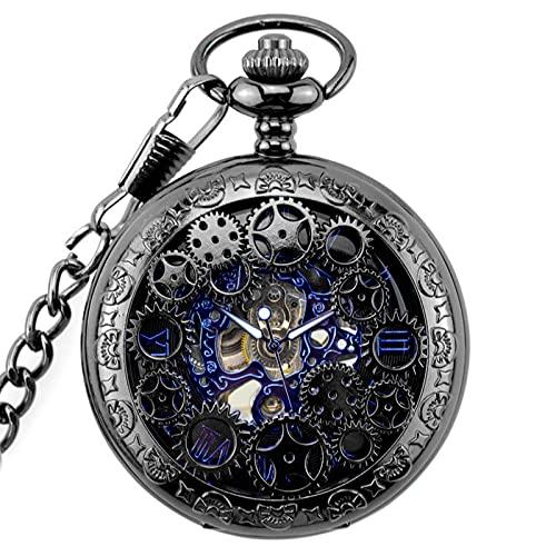 MQSATXHLOEV Reloj de Bolsillo de la maquinaria Negra de la Pistola de Engranajes Reloj Retro de la Cubierta del Recorte Pioneer Male Watch Tabla de Collar Vintage
