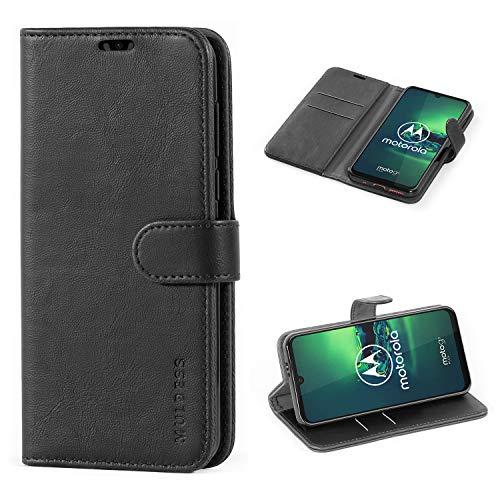 Mulbess Handyhülle für Motorola Moto G8 Plus Hülle Leder, Motorola Moto G8 Plus Klapphülle, Motorola Moto G8 Plus Schutzhülle, Handytasche für Motorola Moto G8 Plus Tasche, Schwarz
