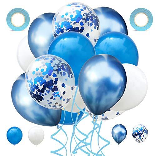 60 Stück Latex Ballon,12 Zoll Luftballon Set,Konfetti Luftballons,mit 2 Band.für Junggesellinnenabschiede, Hochzeiten, Babypartys und Geburtstagsfeiern (Blau)