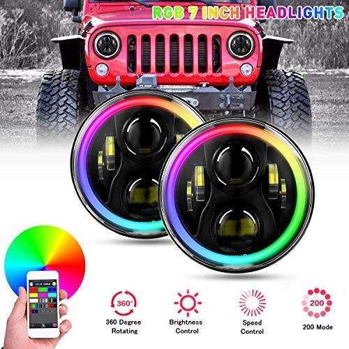 """YEEGO 7\""""Runder RGB LED Scheinwerfer, 60W LED RGB Scheinwerfer Halo Angle Eye Weiß DRL Bernstein mit Farbwechselnder Bluetooth Fernbedienung H4-H13 Adapter, 2 Jahre Garantie"""