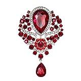 Yazilind Fashion Lily Flower incrusté de Strass en Alliage Zirconia Pendant Broche Femmes Filles Accessoires (Rouge)
