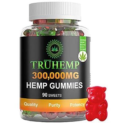Hemp Gummies Premium 300,000 MG High Potency - 3333 Per Fruity Gummy Bear with Hemp Oil | Natural Hemp Candy Supplements for Pain, Anxiety, Stress & Inflammation Relief | Promotes Sleep & Calm Mood by TRUHEMP