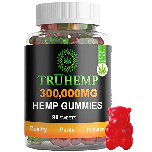 Hemp Gummies Premium 300,000 MG High Potency - 3333 Per Fruity Gummy Bear with Hemp Oil | Natural Hemp Candy Supplements for Pain, Anxiety, Stress & Inflammation Relief | Promotes Sleep & Calm Mood