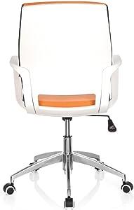 HJH Office 719190 Sedia da Ufficio/Sedia Girevole ESTRA Tessuto Arancione con Telaio Bianco, meccanismo oscillante, Regolabile in Altezza, Design Moderno, Stabile, 110 kg
