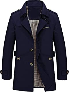 XINHEO Men Twill Mid Long Single Breasted Duster Coat with Pockets