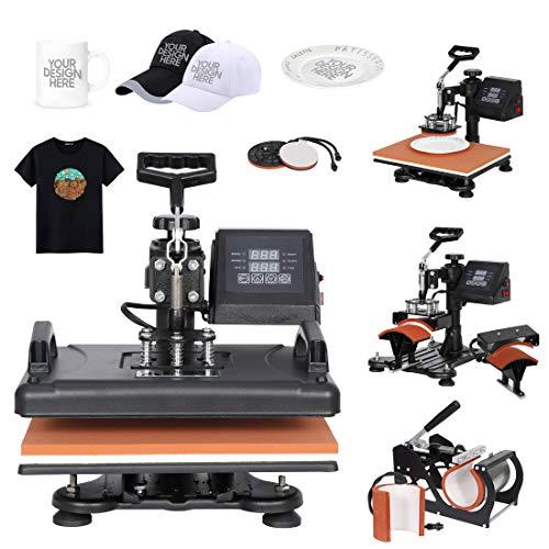 F2C 12' x 15' Heat Press Machine Pro 6 in 1 Swing Away Digital Heat Transfer Sublimation Press Combo for T-Shirt Bag Hat Cap Mug Plate