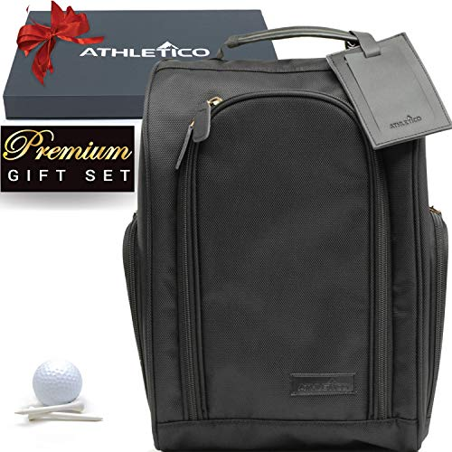Athletico Executive Golf Shoe Bag with Luggage Tag - Zippered Shoe Carrier with External Pockets - Great Golf Gift for Men or Women
