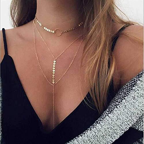 Collar, Collar Y Collar De Clavícula De Oro con Lentejuelas De Aleación, Multiusos, Especialmente Práctico, Especialmente Fácil De Usar, Apto para Todos Los Lugares