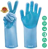 INSUP Premium Dishwashing Gloves with Bristles - Magical Cleaning Gloves Washing Mitts with Scrubbers Best for Household and Multi Purpose Use - Scrub for Kitchen Gloves (Blue)