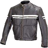 Men Motorcycle Vintage Hand Buffed Leather Armor Jacket Black MBJ031 (L)