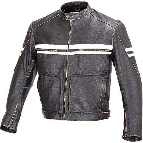 Men Motorcycle Vintage Hand Buffed Leather Armor Jacket Black MBJ031 (M)